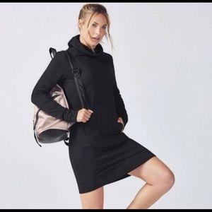 Fabletics XS Yukon Black Sweatshirt Hoodie Dress